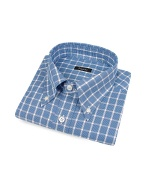 Blue Checked Cotton Italian Button Down Dress Shirt