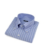 Blue Striped Button Down Italian Cotton Dress Shirt