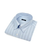 Blue Striped Snap Collar Italian Cotton Dress Shirt