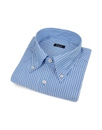 Classic Blue Pencil-Stripe Italian Cotton Dress Shirt