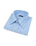 Classic Blue Ribbon Striped Cotton Italian Dress Shirt