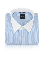 Contrast Collar Striped Cotton Italian Dress Shirt