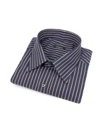 Dark Blue and Brown Ribbon Striped Cotton Italian Dress Shirt