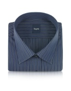 Dark Blue Striped Cotton Italian Dress Shirt