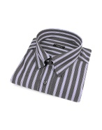 Gray and Light Blue Striped Snap Collar Cotton Italian Dress Shirt