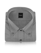 Gray Herringbone Button Down Cotton Italian Dress Shirt