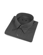 Gray Snap Collar Cotton Italian Dress Shirt