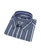 Indigo Blue Ribbon Striped Cotton Italian Dress Shirt