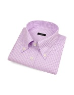 Lavender Checked Italian Button Down Dress Shirt