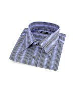 Lavender Variegated Lines Cotton Italian Dress Shirt