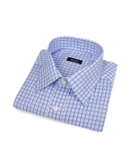Light Blue Checked Cotton Italian Dress Shirt