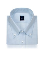 Light Blue Fine Lines Italian Button Down Dress Shirt