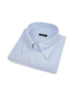 Light Blue Pencil-stripe Button Down Cotton Dress Shirt