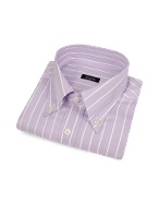 Lilac Striped Cotton Italian Button Down Dress Shirt
