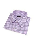 Pink and Blue Checked Cotton Italian Dress Shirt