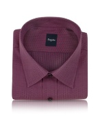 Plum Dotted Cotton Italian Dress Shirt