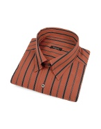 Rust Orange Striped Snap Collar Cotton Italian Dress Shirt