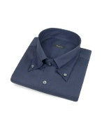 Solid Dark Blue Cotton Italian Button Down Dress Shirt