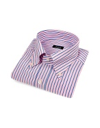 Striped Button Down Italian Cotton Dress Shirt