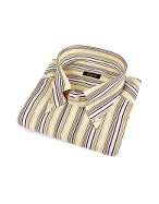 Variegated Stripes Button Down Cotton Dress Shirt
