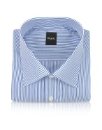 White and Blue Pencil Stripe Cotton Italian Dress Shirt