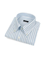 White and Blue Striped Button Down Cotton Italian Dress Shirt
