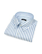 White and Blue Striped Snap Collar Cotton Italian Dress Shirt