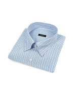 White and Blue Striped Snap Collar Italian Cotton Dress Shirt