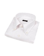 White Checked Italian Button Down Dress Shirt