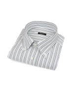 White Striped Button Down Italian Cotton Dress Shirt