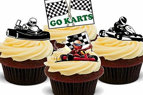Baking Bling Karting Mix Go Karts Racing Hobby - Fun Novelty Birthday PREMIUM STAND UP Edible Wafer Card Cake Toppers Decoration