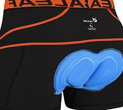 Baleaf Mens 3D Padded Cool Max Bicycle Underwear Shorts - Black/Orange, Medium