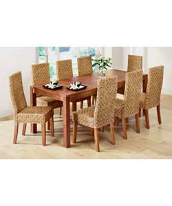 Extending Dining table and 8 Woven Chairs