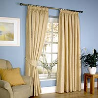 Curtains Lined Pencil Pleat Gold Effect 198 x 183cm