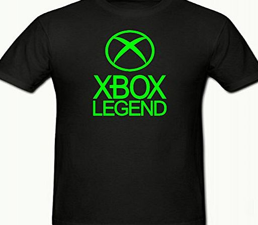 Bamboozled Accessories XBOX LEGEND FUNNY NOVELTY BOYS T SHIRT 5-15YRS,WITH 2 FREE CONSOLE STICKERS,XBOX 360,GAMER (12-13 YEARS (152CM) CHEST, BLACK amp; FLUORESCENT GREEN)