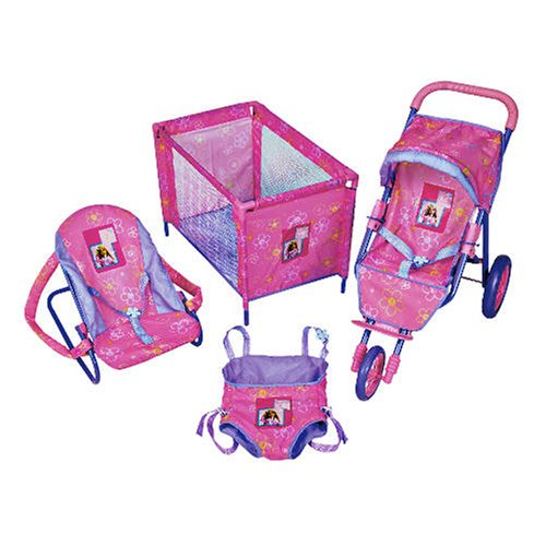 3 Wheel Baby Dolls Travel Set - Pushchair- Cot Bouncer Chair and Papoose