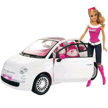 Doll with White Fiat Car