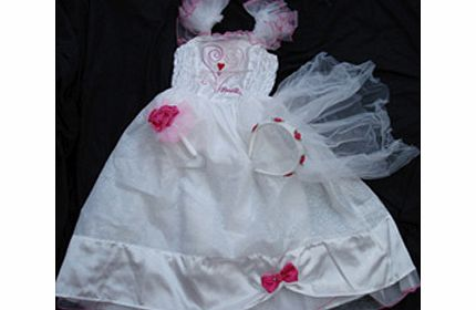 Girls Barbie Bride Wedding Dress Costume Age 5-6