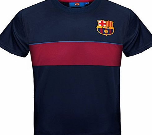 Barcelona F.C. FC Barcelona Official Gift Boys Poly Training Kit T-Shirt Navy Stripe 8-9 Years MB