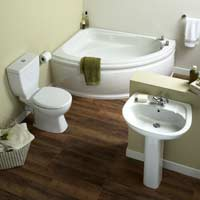 Left-Hand Corner Bath Suite - White with Chrome Effect Bath Taps & Basin Mixer