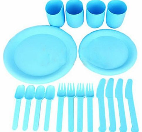 24PC PLASTIC CUPS PLATES FAMILY BEACH PICNIC FOOD PARTY BBQ CUTLERY SET CAMPING