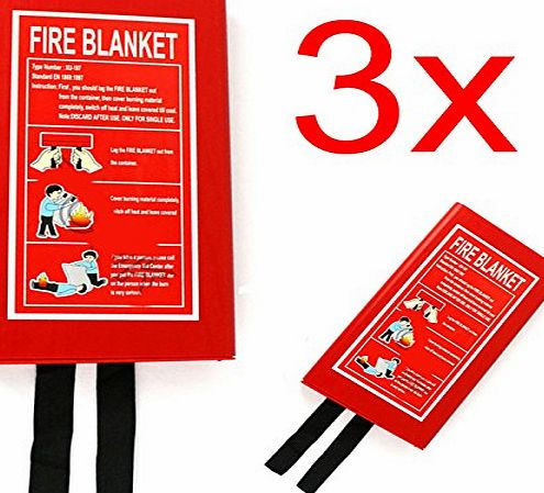 BARGAINS-GALORE 3 X FIRE BLANKET HOME SAFETY LARGE QUICK RELEASE PROTECTION 1M X 1M IN CASE WORK