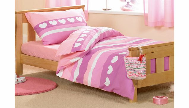 Pink Hearts Junior Bed Duvet and Pillowcase Set by Baroo