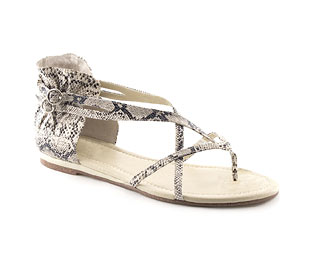 Cross Over Sandal With Snake Effect