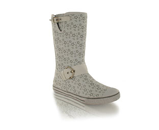 Funky Canvas Ankle Boot With Star Print Detail