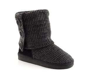 Knitted Boot With Button Detail - Junior