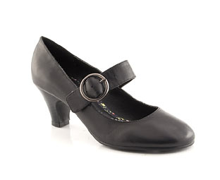 Low Heel Leather Court Shoe - Junior