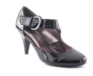 Patent Court Shoe With Cross Over Strap