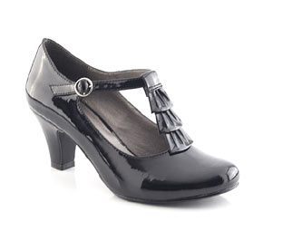 Patent Court Shoe With Frill Trim - Junior