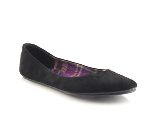 Suede Ballerina With Printed Sock - Size 10 - 11